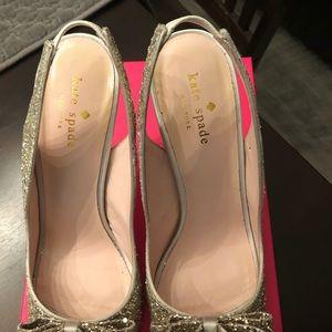 kate spade Shoes - Kate Spade Charm glitter peep-toe pumps size 8